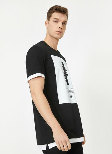 Koton Bisiklet Yaka Kisa Kollu % Pamuklu Yazılı Baskılı T-Shirt Siyah